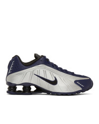 Nike Navy And Silver Shox R4 Sneakers
