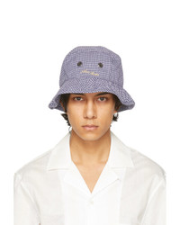 Acne Studios Blue And White Check Logo Bucket Hat