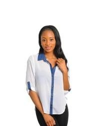 White and Navy Button Down Blouse