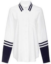 Brett color blocked washed silk shirt bright whitepeacoat medium 94350