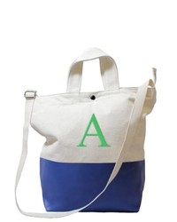 White and Navy Canvas Tote Bag