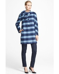 White and Navy Check Coat