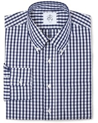 White and Navy Check Long Sleeve Shirt