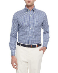 Peter Millar Nanoluxe Check Long Sleeve Sport Shirt Navywhite