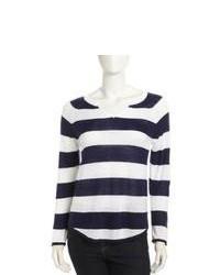 White and Navy Crew-neck Sweater