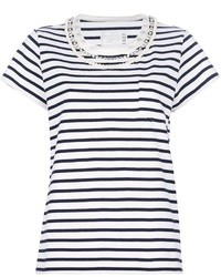 White and Navy Crew-neck T-shirt