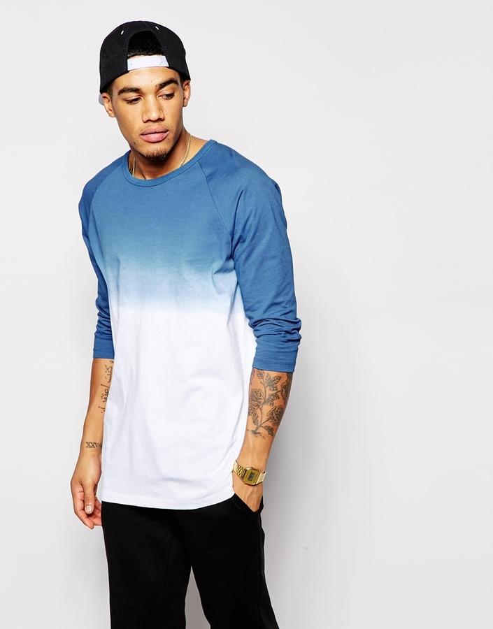 ... Asos Brand Longline 34 Sleeve T Shirt With Dip Dye ...