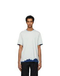 MSGM Grey And Navy Bleached Effect T Shirt