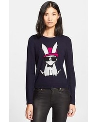 Embroidered bunny intarsia knit sweater medium 109191
