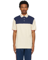 Gucci Off White Navy Embroidered Collar Polo
