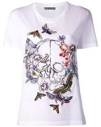 Alexander mcqueen floral skull embroidered t shirt medium 82165