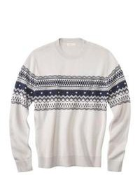 White and Navy Fair Isle Crew-neck Sweater