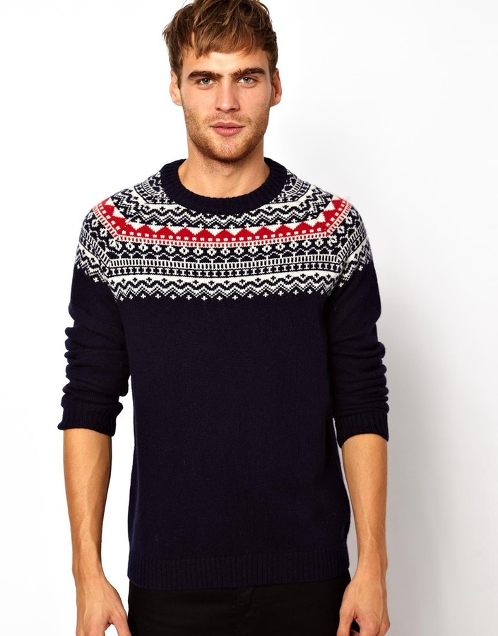 Selected Sweater In Fairisle Blue