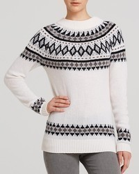 Sweater fair isle zip shoulder cashmere medium 68833