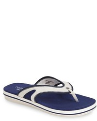 White and Navy Flip Flops