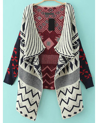 Geometric Print Blue Cardigan