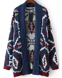 Multicolor Long Sleeve Geometric Print Cardigan