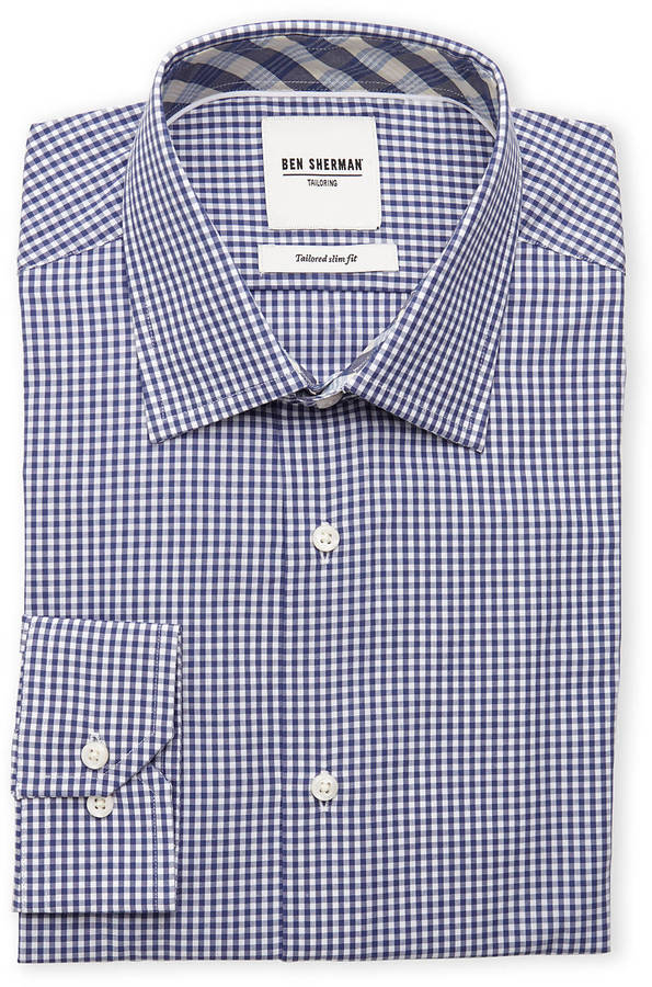 Ben Sherman Navy White Gingham Tailored Slim Fit Dress