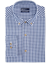 Bar III Carnaby Collection Slim Fit Navy And White Gingham Dress Shirt