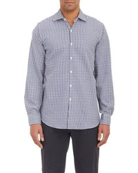 Piattelli Gingham Check Dress Shirt Blue