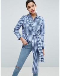 Asos Gingham Shirt With Tie Front