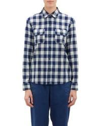A.P.C. Gingham Slub Weave Shirt Blue
