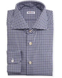 Kiton wear kiton unbalanced gingham woven dress shirt navy medium 423936