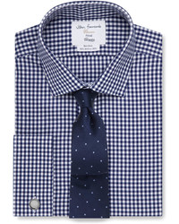 T.M.Lewin Non Iron Navy Gingham Fitted Shirt