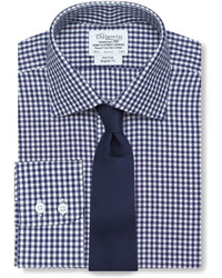 T.M.Lewin Non Iron Navy Gingham Regular Fit Shirt
