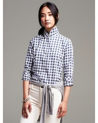 be50d60d Women's White and Navy Gingham Dress Shirts by Banana Republic ...