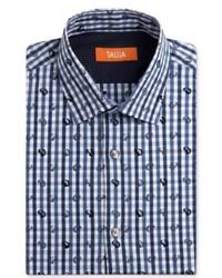 Tallia Dress Shirt Slim Fit Blue Gingham Long Sleeved Shirt