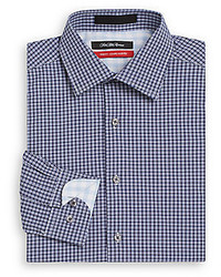 Saks Fifth Avenue Trim Fit Plaid Check Cotton Dress Shirt