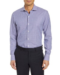 Bugatchi Trim Fit Stretch Check Dress Shirt