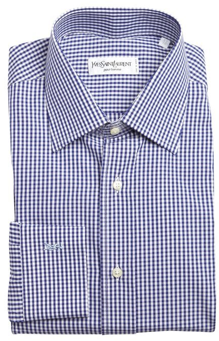 White And Navy Gingham Dress Shirt Yves Saint Laurent