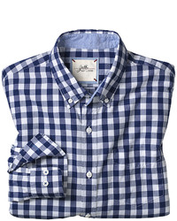 White and Navy Gingham Long Sleeve Shirt