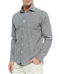Billy Reid Gingham Check Button Down Shirt Navy