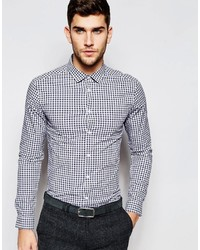 Asos Brand Skinny Shirt In Double Gingham With Long Sleeves