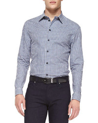 Armani Collezioni Button Down Gingham Shirt Navywhite
