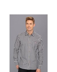 Classic fit anders vik navy gingham shirt long sleeve button up navy gingham medium 143735