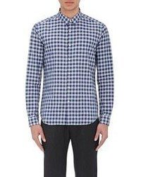 Theory Gingham Slub Weave Shirt Blue