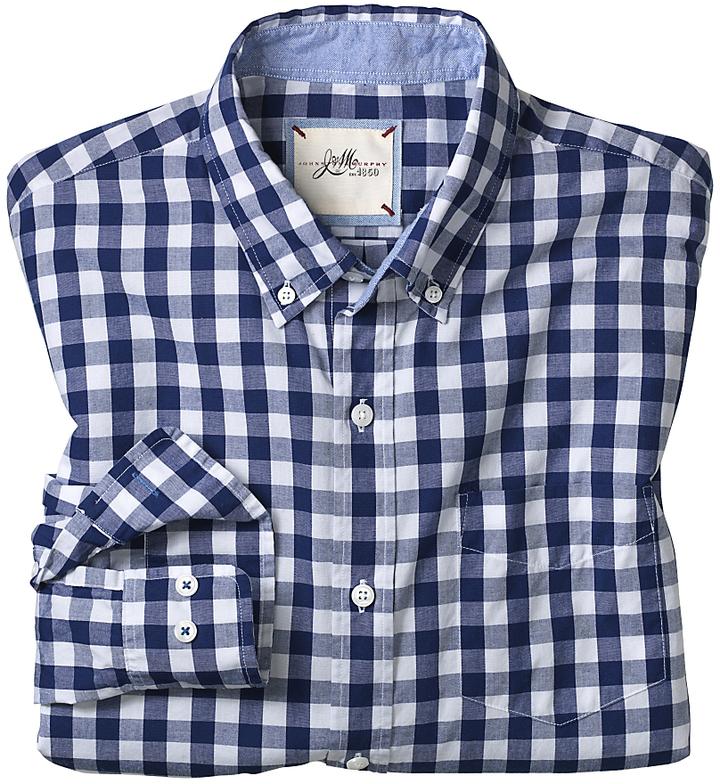 johnston murphy slim fit washed gingham check shirt