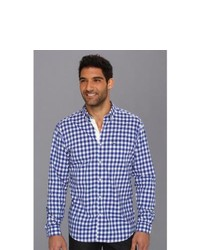 Lacoste Ls Button Down Large Gingham Poplin Shirt Long Sleeve Button Up Luxe Bluecake Flour White