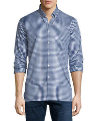 Burberry Matlock Gingham Long Sleeve Sport Shirt Bright Navy