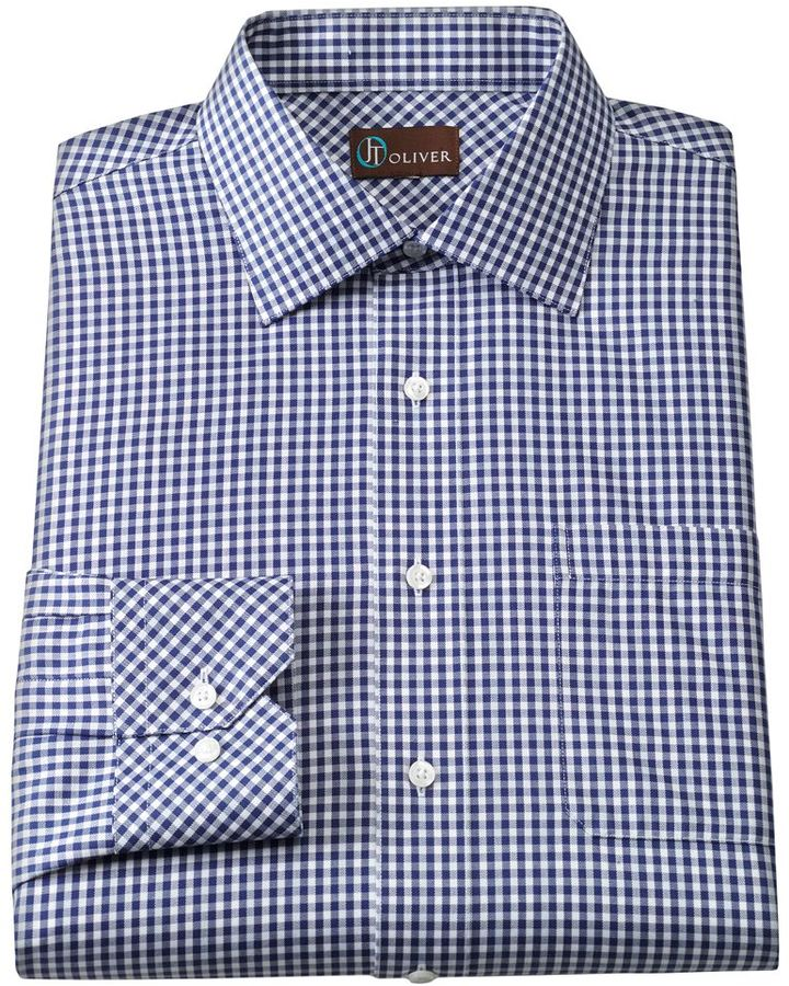 Oliver jt slim fit gingham twill spread collar dress shirt for Spread collar slim fit dress shirts
