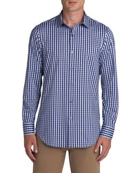 Bugatchi Ooohcotton Tech Gingham Knit Button Up Shirt