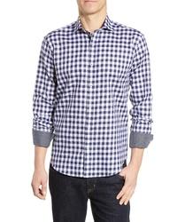 Bugatchi Regular Fit Long Sleeve Gingham Cotton Sport Shirt