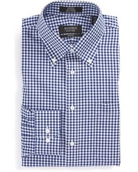 Shop trim fit non iron gingham dress shirt medium 253645