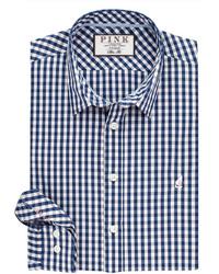 Thomas Pink Evenson Check Slim Fit Button Cuff Shirt