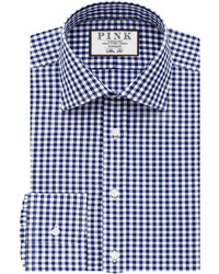 Thomas Pink Summers Check Slim Fit Button Cuff Shirt