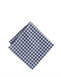 White and Navy Gingham Pocket Square